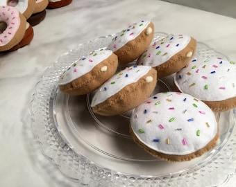 half dozen VANILLA Felt BISMARK || felt food, felt donuts, imaginative play, pretend, bakery, gift for kids, vanilla frosting, filled donut