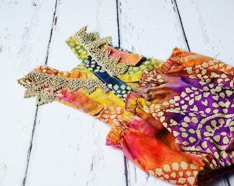 Girls  Designer Tie-Dye Boho Romper, Toddler Romper, Baby Romper, Girls Sunsuit, Girls Tie-Dye Romper, Bohemian Romper