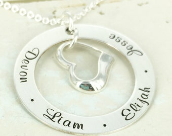 "Personalized mother necklace • 1 1/4"" loop with thick floating heart charm • Engraved Necklace • Personalized Necklace • Mother Necklace"