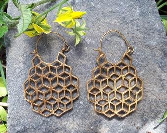 Geometric Honeycomb Earrings