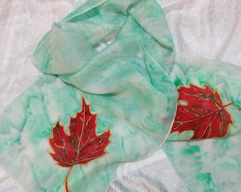 "Original hand painted silk scarf, "" Maple Leaf on a field of green""."
