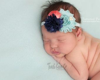 Mint headband, coral and mint headband, mint and navy, navy and coral, navy and mint, coral and navy, Photography headband, newborn headband