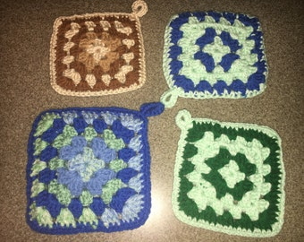 Vintage Country Pot Holders, Kitchen Trivets (4), Double-Sided Soft Potholders, Decorative Brown and Blue Pot Holders, Countertop Decor