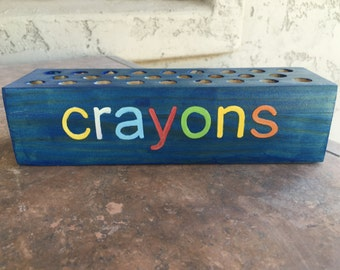 Personalized Wooden Crayon Holder - Colored