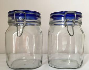 Fidenza Italy blue lidded glass 1L jar wire lock lid