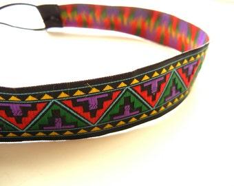 Red, Green and Purple Tribal Headband