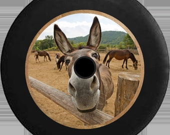 2018 JL Back Up Camera Spare Tire Cover Curious Donkey Mule Horse Looking over Split Log Fence - R231