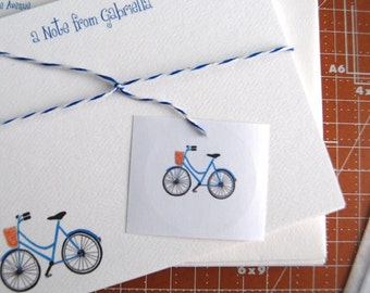Personalized Flat Note, Bicycle Illustration, Card Set, Envelope Bike Seals, Children's Notes, Party Thank You, Invitations, Stationery