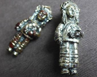 Double filles chinoises Vintage fantaisie broches en argent doré, en plastique résine argent femmes asiatiques filles enfants épingles