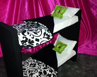Doll Furniture for Barbie / Monster High / Bratz - Black And White Damask Wooden Bunk Bed
