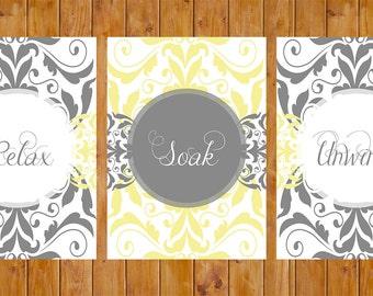 Damask Gray Yellow Set of 3 Wall Art Decor Spa Master Bathroom Relax Soak Unwind 5x7 DIY Printable (172)