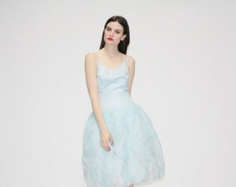 On SALE 60% Off - 50s Pastel Blue Princess Dress - Vintage 1950s Blue Wedding Dress - 50s Prom Dress - The Naiad Dress - 1057