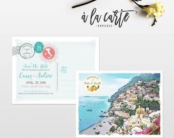Positano Amalfi Coast Italy Illustrated Destination wedding Save the Date invitation postcard watercolor drawing Deposit Payment