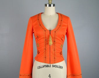 Vintage Poly Knit Orange Embroidered Top by Right On by Estivo Circus Performer Festival Costume Top Size S