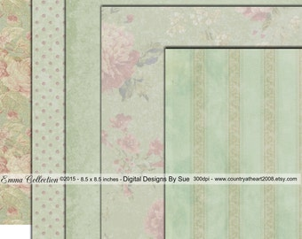 INSTANT DOWNLOAD -  The Emma Collection Paper Pack  - Original Design  - Printable Digital Collage Sheets - Digital Download