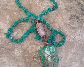 Amazonite Beads with Rose Quartz & Chryocholla  Pendent