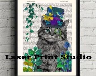 Cat In The Garden Print- Whimsical Cat Decor Dictionary Art Print- Animal Glasses- Cat Lover Gift For Her- Gift For Friend