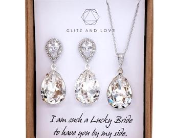 Sandra - Swarovski Crystal Teardrop Earrings, Gifts for her, Sparkly earrings, Silver, Bridesmaid Earrings, Bridal Jewelry, Wedding Jewelry