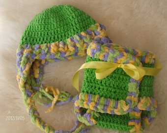 Crocheted Hat and Diaper Cover Photo Prop