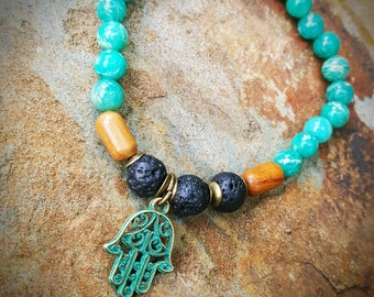 Essential Oil Diffuser Bracelet Lava Rock Hamza Boho Charm Bead Natural Amazonite Teal Turquoise Wood