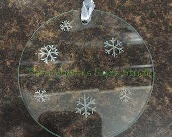 Snowflake Ornament -Christmas ornament, snowflake ornament, glass ornament, holiday decorations, decorations, snowflake, tree ornament