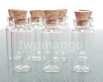 100 2ml Clear Glass Bottles Vials with Corks.......2ml -100......... Free Shipping
