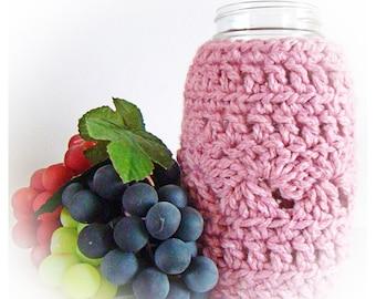 Blush Pink Ball Mason Jar Cozy Quart size, Dusty Rose canning cover, jar sleeve, Eco friendly Bamboo Hostess Gift