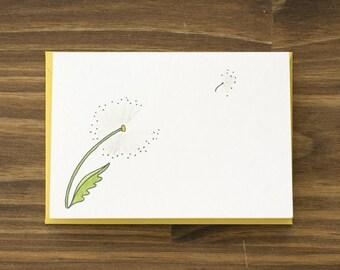 dandelion yellow note card