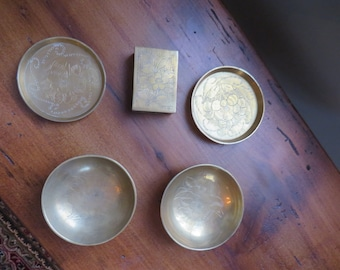 Vintage brass match box holder with matching dishes or ash trays