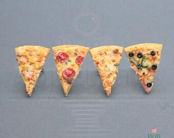 Food Jewelry Pizza Post Earrings, Polymer Clay Earrings, Miniature Food Jewelry, Food Earrings, Nickel Free Earrings