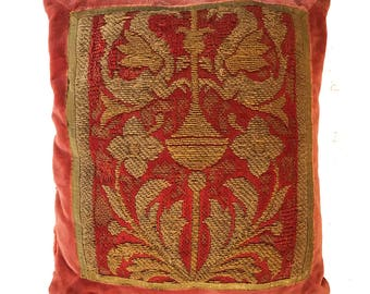 18th Century Italian Embroidery Pillow