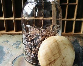 Maple Wood Mason Jar Lid, Hand Turned Wooden Lid and Jar, Vintage Atlas Mason Jar with Wood Lid, Wood Pantry Jar Lid, Sunset Turnings