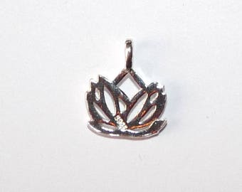 Lotus 2 925 Sterling Silver Pendant zen Buddhist mother love friendship for jewelry making