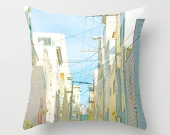 Blue Throw Pillow with Insert // Urban Print // San Francisco Alley // Urban Print Decorative Pillows w/ Insert // Blue & White Print Pillow