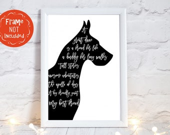 great dane dog print, great dane art, Great Dane gifts for her, great dane christmas gifts for friends, great dane gifts, UNFRAMED