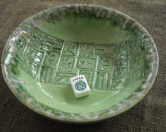 Mahjong Bowl - Green Mahjong Pottery - Mahjong Gift - Oriental Bowl - Green Pottery - Gift Idea - Mahjong Tableware