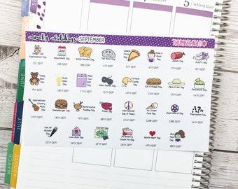 September 2018 Wacky Holidays Planner Stickers