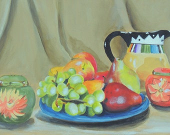 aceo Colorful Still Life is a baseball card size reproduction of my original artwork