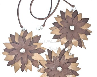 Leather Flower Necklace, Wearable Art Necklace, Lightweight Statement Necklace