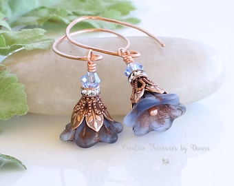 Purple Czech Glass Flower Beads, Copper Earrings, Swarovski Crystals, Hippie Earrings, Flower Earrings, Bride Earrings, Wedding Earrings