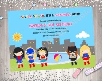 Girl Superhero Pool Party Invitation Invite Super Hero birthday Invitation Party Printable
