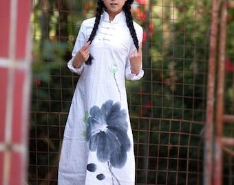 Maxi Dress Summer Dress Long Dress Hand Painted Long Dress Long Sleeve Lotus Spring Dress Summer Dress Day Dress