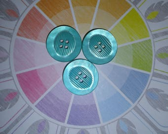 lot de 3 boutons bleu transparent en plastique 25 mm