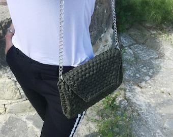 "Crochet bag, crochet shoulder bag, crochet small bag, crochet handbag, The ""V"" bag"