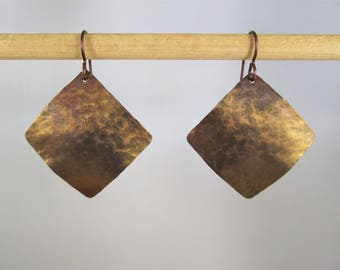 Large Anodized Bronze Angled Square Pure Titanium Earrings