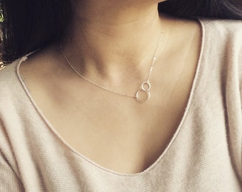 Eternity Necklace, Circle Necklace, Sterling Silver Linked Circle Necklace, Everyday Wear, Mothers necklace, Best Friends, Wife Gift