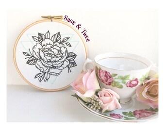 Floral Peony Tattoo geometric Embroidery Hoop Wall Art