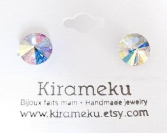 Crystal AB Rivoli Stud Earrings, Crystal Post Earrings, 8mm Swarovski cristal stud Earrings, Stainless Steel Post Earrings, Bridal earring