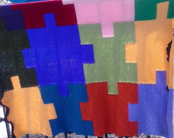 Puzzle Pieces Hand Knitted Blanket/Coverup