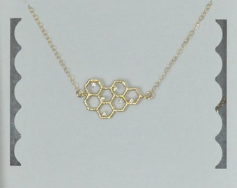 Honeycomb Necklace, Hexagon Necklace, CZ, Gold filled Chain, Dainty Chain, Tiny Necklace, Geometric Necklace, Birthday Gift